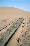 Railway Tracks Leading into a Desert Dune