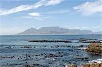 Vue de Cape Town et de la montagne de la Table de Robben Island