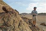 Male Tourist on a Desert Safari Walk