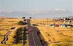 The Road to Elliot mit traditionellen Xhosa Settelments und Grasland. Provinz Eastern Cape, Südafrika