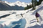 Les randonneurs parcourant une neige couverte chemin