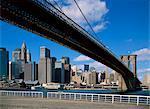 Post skyline de Manhattan le 11 septembre et le Brooklyn Bridge, New York City, États-Unis d'Amérique, Amérique du Nord