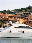 Yachts dans le port, Porto Cervo, Costa Smeralda, île de la Sardaigne, en Italie, Méditerranée, Europe
