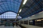 A Eurostar high speed train on the platform at St. Pancras station, London, England, United Kingdom, Europe