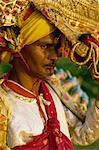 Actor in the Ramlilla stage play interpretation of the Hindu epic, The Ramayana, Ramlilla Festival, Varanasi, Uttar Pradesh state, India, Asia