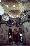 Intérieur de la Sainte-Sophie d'énormes médaillons porte les noms d'Allah, patrimoine mondial de l'UNESCO, Istanbul, Turquie, Europe, Eurasie