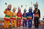 Group portrait of masked actors in the Ramlilla, the stage play of the Hindu Epic the Ramayana, Varanasi (Benares), Uttar Pradesh State, India