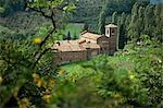Abbazia di Vezzolano, finest Romanesque building in Piedmont, near Asti, Piedmont, Italy, Europe