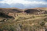 Interlinking terraces in natural landform, Cuzco, Moray, Peru, South America