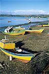 Fishing boats on the beach, zone of Dalcahue, near Castro, Chiloe island, Chile, South America