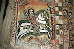 St. George and Dragon, Uran Kidane Meherate church, Zege Peninsula, Lake Tana, Ethiopia, Africa