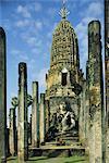 Ruines du temple, le Wat Mahathat Chalieng, bouddhistes de Si Satchanalai-Chaliang, Province de Sukhothai, Thaïlande, Asie