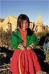 Portrait of a Uros Indian girl on a floading reed island, Islas Flotantes, Lake Titicaca, Peru, South America