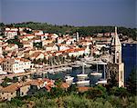 Elevated view of the town and harbour, Hvar Town, Hvar Island, Dalmatia, Dalmatian coast, Croatia, Europe