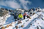 Un groupe de randonneurs descendant sur le Mont Furanodake à l'automne, sur l'île d'Hokkaido, Japon, Asie