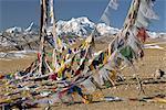 Mont Shishaoangma, 8038m et drapeaux colorés au Tibet, Chine, Asie
