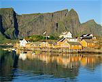 Moskenesoya, fishing village on Sakrisoya Island, Lofoten Islands, Nordland, Norway, Scandinavia