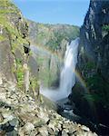 Rainbow and Voringsfossen waterfall, Hardanger region, Norway, Scandinavia, Europe