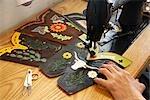 Man Sewing Leather Goods, Maida's Black Jack Boot Company, Houston, Texas, USA