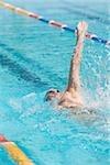 Jeune nageur australien faisant dos crawlé