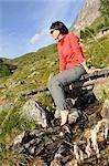 woman resting, Trentino Alto Adige italy