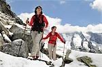 deux femmes de la raquette, du Trentin Haut-Adige Italie