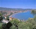Elevated view of the coastline, Diano Marina, Italian Riviera, Liguria, Italy, Europe