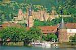Heidelberg Castle and the Neckar River, Heidelberg, Baden-Wurttemberg, Germany, Europe
