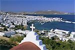 Vue surélevée de ville, Mykonos (Hora), Iles Cyclades, Grèce, Europe