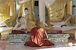 Buddhist monk worshipping at Shwedagon Paya (Shwe Dagon pagoda), Yangon (Rangoon), Myanmar (Burma), Asia