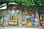 Decorative tiles, Isola Bella, Piedmont, Italy, Europe