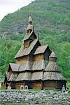 Stave church, Borgund, Fjordlands Ouest, Norvège, Scandinavie, Europe