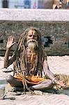 Portrait of a sadhu, Hindu holy man, Pashupatinath Temple, Kathmandu, Nepal, Asia