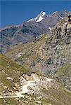 Rough road along Chenab Valley between Lahaul and Spiti, Himachal Pradesh, India, Asia