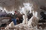 Salt stalactites and stalagmites, in cave in Namakdan salt dome, Qeshm Island, southern Iran, Middle East