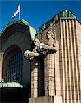 Statues on front of the railway station, Helsinki, Finland, Scandinavia, Europe