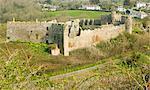 Manorbier castle, near Tenby, Pembrokeshire, Wales, United Kingdom, Europe
