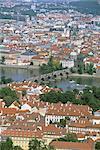 City and Vltava River, Prague, Czech Republic, Europe