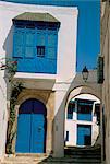 Maison peinte en bleu et blanc, Sidi Bou Saïd, Tunisie, Afrique du Nord, Afrique