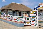 View of Francina Ndimande's homestead (famous Ndbele artist), Weltevre Village, South Africa, Africa