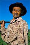 Portrait of a farmer, Dieng Plateau, island of Java, Indonesia, Southeast Asia, Asia
