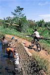 Dames de lavage dans le canal près de Candi Suimberawan, l'île de Java, en Indonésie, Asie du sud-est, Asie