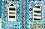 Mosaïque des fenêtres rondes, sanctuaire de Hazrat Ali, qui a été assissinated en 661, Mazar-I-Sharif, province de Balkh, Afghanistan, Asie