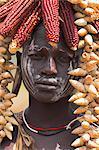 Portrait d'un Mursi lady, vallée de l'Omo du Sud, Ethiopie, Afrique