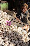 Man selling garlic, Bazaar, Central Kabul, Afghanistan, Asia