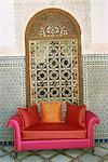 Sofa in courtyard of Riad Enija, The Medina, Marrakech, Morocco, North Africa, Africa