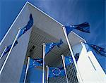 La Grande Arche and EU flags, La Defense, Paris, France, Europe