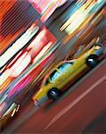 Passé de conduite Yellow cab floue néons nuit à Times Square à New York, États-Unis d'Amérique, l'Amérique du Nord
