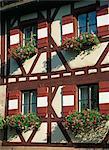 Corbeilles de fleurs sur le mur à colombages, Kaiserburg, Nuremberg, Bavière, Allemagne, Europe