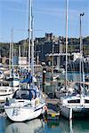 Marina und Burg darüber hinaus, Dover, Kent, England, Vereinigtes Königreich, Europa